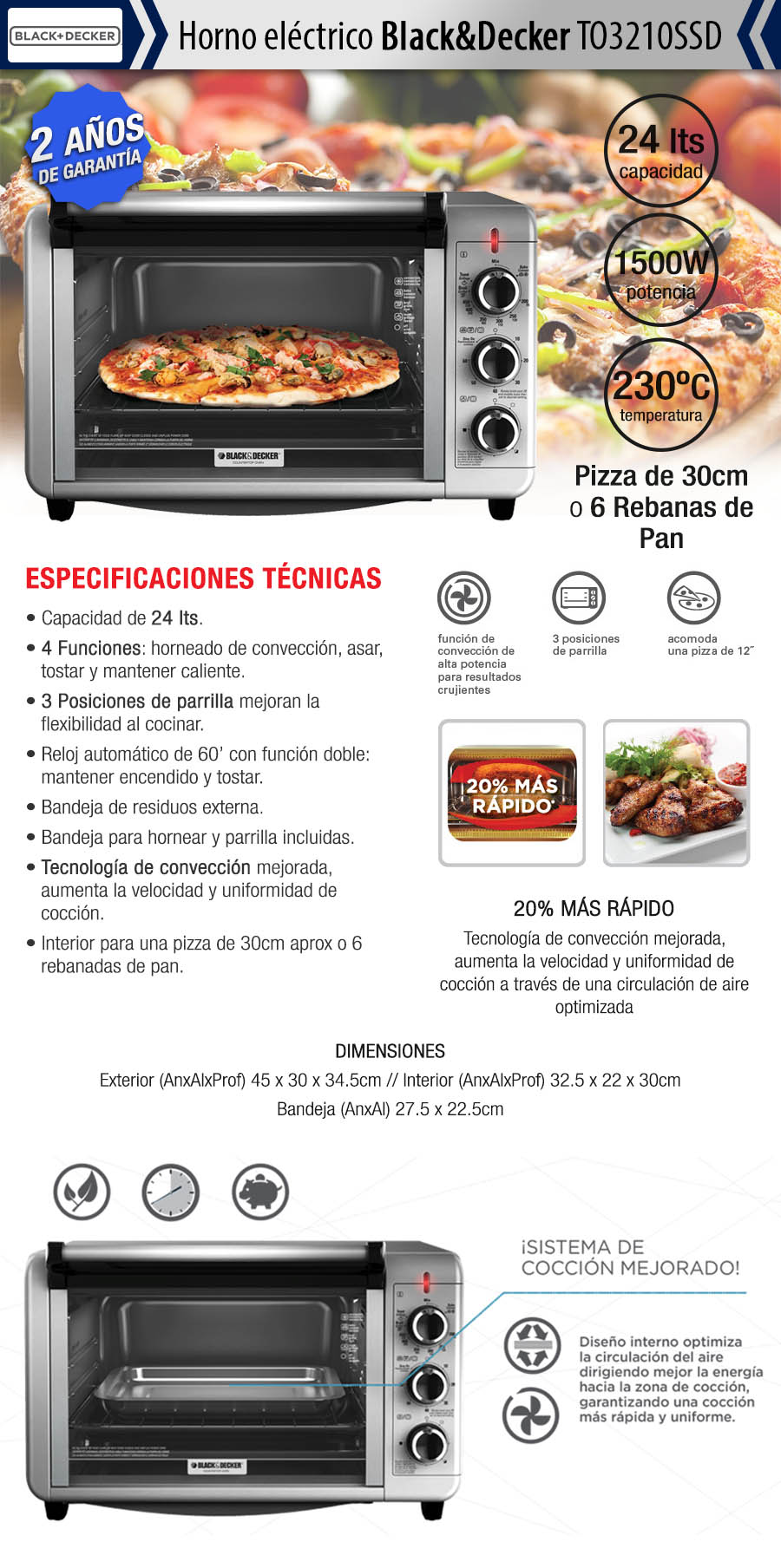 Hornos el ctricos horno electrico black decker to3210ssd for Horno electrico black decker