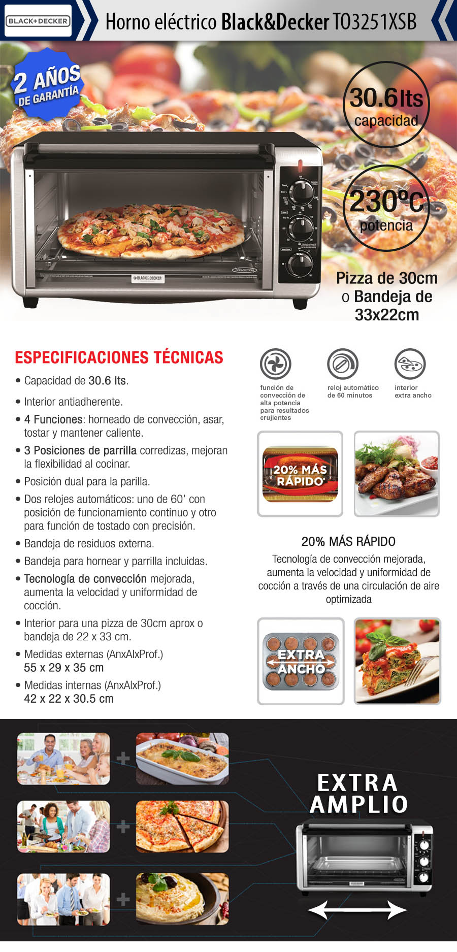 Horno electrico black decker to3250 1xsb for Horno electrico black decker